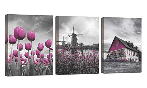 Arjun Canvas Wall Art Flowers Bloosm Windmill Cabin Painting Pictures Purple Tulip Modern Painting Prints, Grey 12'x16'x3 Panels Farmhouse Artwork for Bedroom Living Room Bathroom Home Office Décor