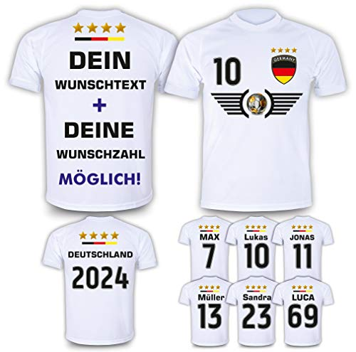 Deutschland Trikot mit Name & Nummer im EM WM weiß Design #DE6 2021/2022 - Geschenke für Kinder, Erw, Jungen, Baby Fußball T-Shirt Bedrucken Lassen