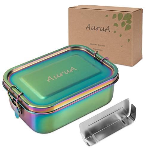 AuruA® Edelstahl Brotdose für Kinder und Erwachsene, plastikfreie Lunchbox aus Metall, Bento Box Brotbox nachhaltig und auslaufsicher (Regenbogen, 800ml)