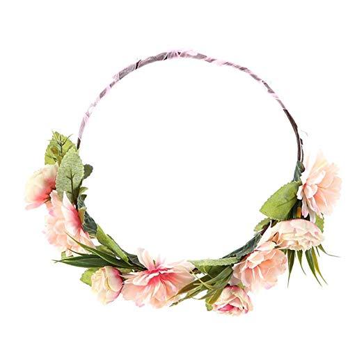 Sanwood KüNstliche Blumenband Kranz Girlande Krone Braut Stirnband Haarschmuck Pink