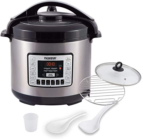NUWAVE NUTRI-POT 8-Quart DIGITAL PRESSURE COOKER with Sure-Lock Safety System; Dishwasher-Safe Non-Stick Inner Pot; Glass Lid for Slow Cooking; Cooking Rack, 11 Pre-Programmed Presets; Detachable Pressure Pot Lid for Easy Cleaning; (8-Quart)