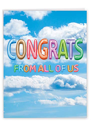 The Best Card Company - Jumbo Congratulations Greeting Card (8.5 x 11 Inch) - Big Group Card, Cute and Fun Kids Balloons - Inflated Messages Congrats J5651PCGG-US