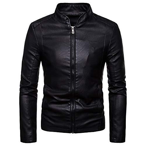 Chaqueta de cuero para hombre, estilo vintage, para otoño, diseño de bolsillo de motociclista