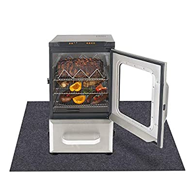 """Electric Smoker Mat?Protects Decks from Grease and Sauce Spills?Premium Oven Mat?Under Grill Mat?Absorbent material-Contains Smoker Splatter?Anti-Slip and Waterproof Backing?Washable (36"""" x 48"""")"""