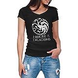 ZYDUVA House of The Dragon Daenerys Black Nera Camicia da Donna con Scollo a V Size S