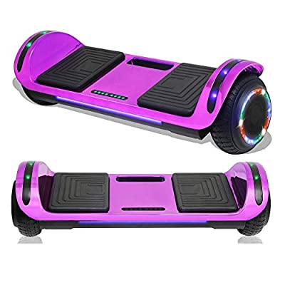 TPS Electric Hoverboard Self Balancing Scooter with Charger for Kids and Adults Built-in Speaker and LED Lights - Safety Certified (Chrome Purple)