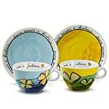 Egan PAF12/1C Set Tazze Cappuccino, Porcellana, Celeste/Verde, 4 unità