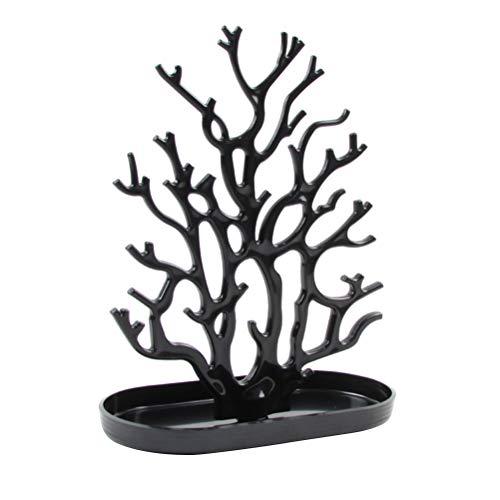 Espositore a forma di corallo, in plastica, per gioielli, da scrivania, per orecchini, anelli, collane (nero)