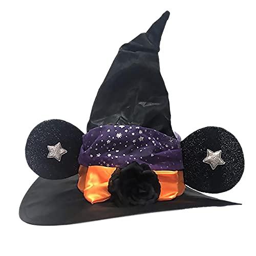 Fauge Sombrero de Bruja de Halloween con Encaje Suave Flor de Rosa Accesorio de Disfraz de Halloween Sombrero de Bruja para Fiesta de Halloween para Adultos