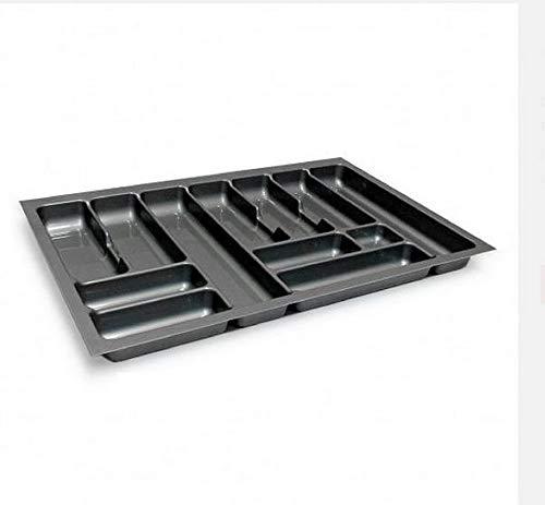 Besteckeinsatz Schubladeneinsatz Besteckkasten Comfort Universal | für 80er Schubladen | zuschneidbar von 710-735 mm | Silbergrau