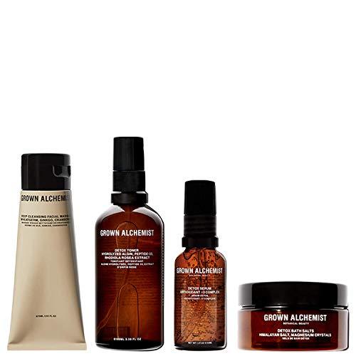 Grown Alchemist Detox Kit - 4 PIece Skincare Set with Deep Cleansing Facial Masque, Detoxifying Toner, Detox Face Serum, Detox Bath Salt