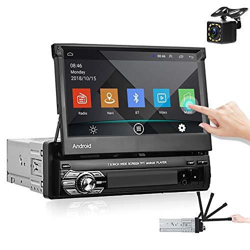 Hikity Android 1 DIN Radio de Coche 7 Pulgadas Pantalla táctil abatible Bluetooth FM Estéreo Receptor con GPS Navegación Conexión WiFi Enlace con el Espejo + Cámara de Seguridad