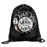 uykjuykj Bolsos De Gimnasio,Mochilas,I Love You To The Moon and Back Drawstring Backpack Bag Beam Mouth School Travel Backpack Shoulder Bags For Men/Women Lightweight Unique 17x14 IN
