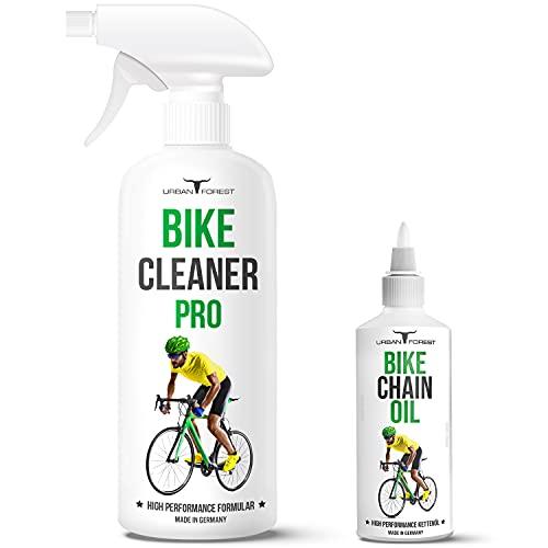 Fahrrad Reiniger + Fahrrad Kettenöl als SPARSET für alle Fahrräder & E-Bikes | Premium Fahrradpflege von URBAN FOREST – Made in Germany | BIKE CHAIN OIL 100ml + BIKE CLEANER PRO 500ml