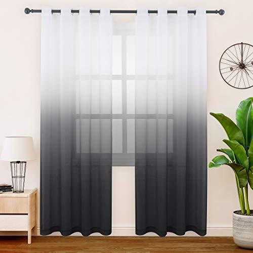 FLOWEROOM Gardinen/Vorhang Transparent Voile für Schlafzimmer und Wohnzimmer, 140 x 245 cm, Schwarz – Gardine Farbverlauf Fenster Vorhänge mit Ösen, Sheer Curtains 2er Set