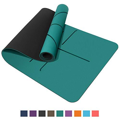 TOPLUS Pilatesmatte Gymnastikmatte,Yogamatte rutschfest aus TPE,Übungsmatte Sportmatte für Yoga,Pilates, Fitness- Grün