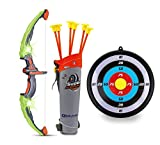 GoBroBrand Bow and Arrow Set for Kids -Green Light Up Archery Toy Set -Includes 6 Suction Cup...