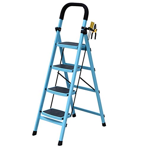 WHOJA Escalera De Acero de 4 Escalones Tapete de Seguridad Escalera para Adultos Diseño Plegable Apoyabrazos de Goma Apto para hogar/jardín 150 kg de Carga 4 Pasos Ligera y Resistente