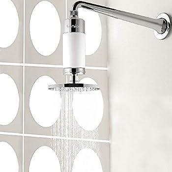 Lonior KDF-55 Filtro de ducha de alta salida, purificador de agua dura para suavizar el agua, elimina el cloro, fluoruro, metales pesados, bacterias, productos químicos para cualquier cabezal de ducha: Amazon.es: Hogar
