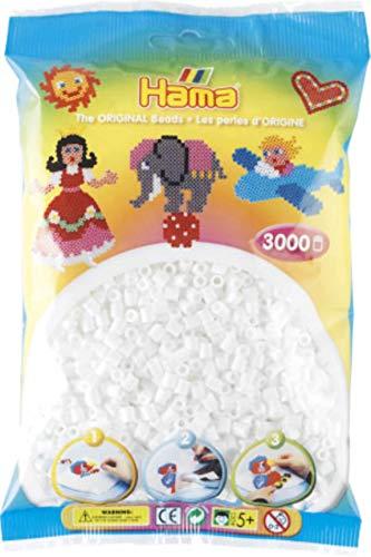 Hama Perles à Repasser midi, Sachet, 3000 pièces, Blanc Noir