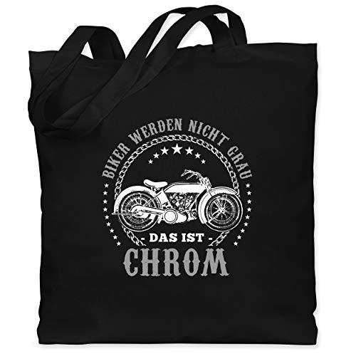 Motorräder - Biker werden nicht grau - Chrom - Unisize - Schwarz - biker werden nicht grau das ist chrom - WM101 - Stoffbeutel aus Baumwolle Jutebeutel lange Henkel