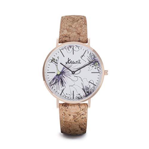 Reloj de Flores Mujer Napali Pua | Estampado | 38mm | Caja de Acero | Correa de Corcho Intercambiable | de Kauai watches