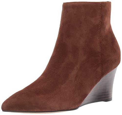 NINE WEST Women's Carter Wedge Booties Ankle Boot, Medium Brown, 8