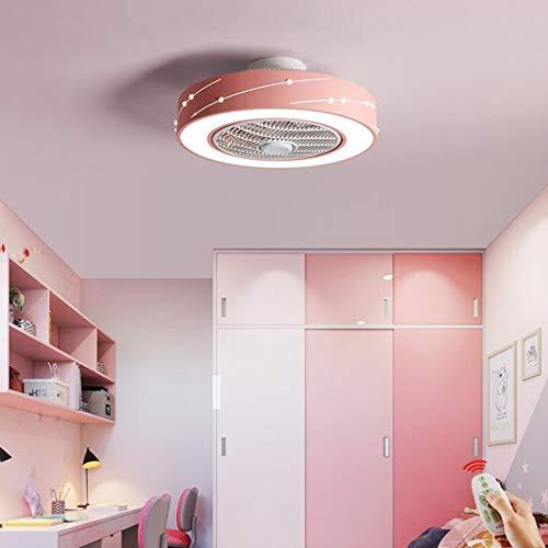 Ventilador techo LED iluminación invisible Luz techo Velocidad viento ajustable Regulable Lámpara techo moderna Lámpara Dormitorio Sala de estar Habitación para niños silencioso Luz,Rosado