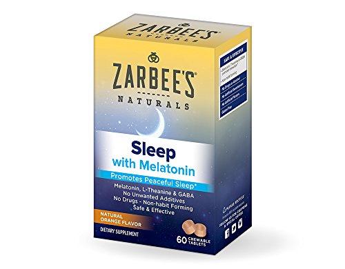 Zarbee's Naturals Sleep with Melatonin Supplement, Natural Orange Flavor, 60 Chewable Tablets