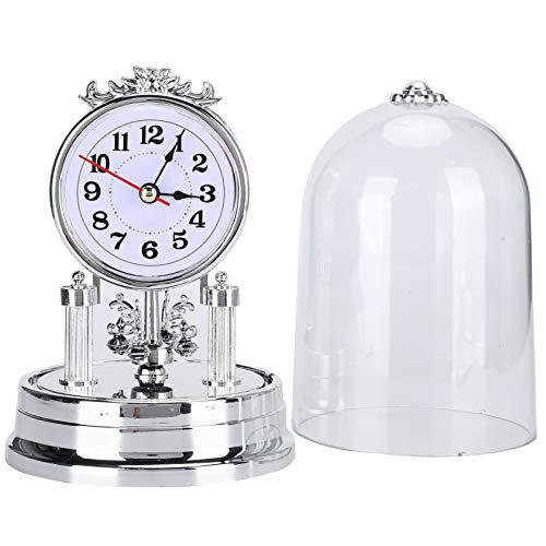 Fydun Reloj de Mesa con Tapa Transparente, Estilo Vintage Europeo, Funciona con Pilas, Reloj de Escritorio silencioso para la decoración de la Oficina en casa