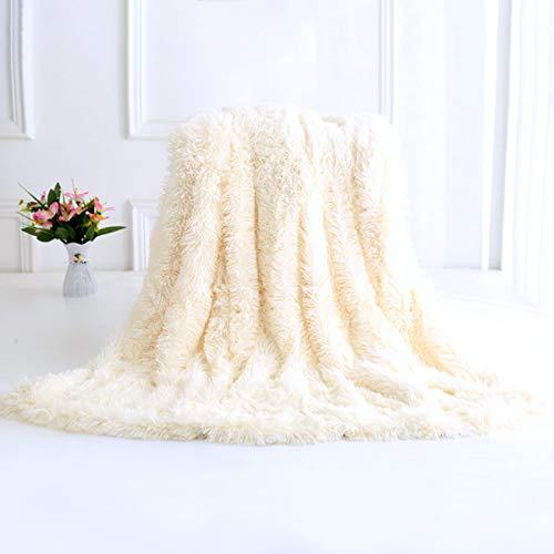 Dricar - Coperta soffice e morbida, grande, in finta pelliccia, lavabile, decorativa, calda, per divano o letto, 200 x 160 cm, colore: Bianco