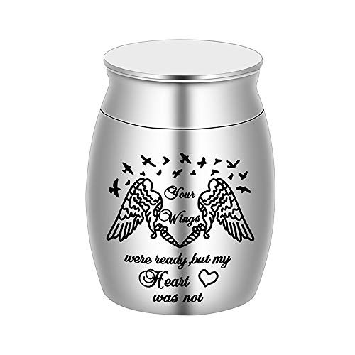 """Beautiful Keepsake Urn for Ashes-1.6"""" Tall Angel Cremation Urns for Human or Pet Ashes-Handcrafted Decorative Urns for Funeral-Engraved """"Your Wings were Ready, But My Heart was Not"""" Urn for Sharing"""