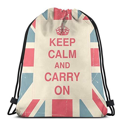 Jiger Drawstring Tote Bag gymnastiekzak om op te bergen, houd kalm en carry on tekst Against The Britse vlag met Aged Look, zeer sterk premium kwaliteit Gym Bag voor volwassenen en kinderen
