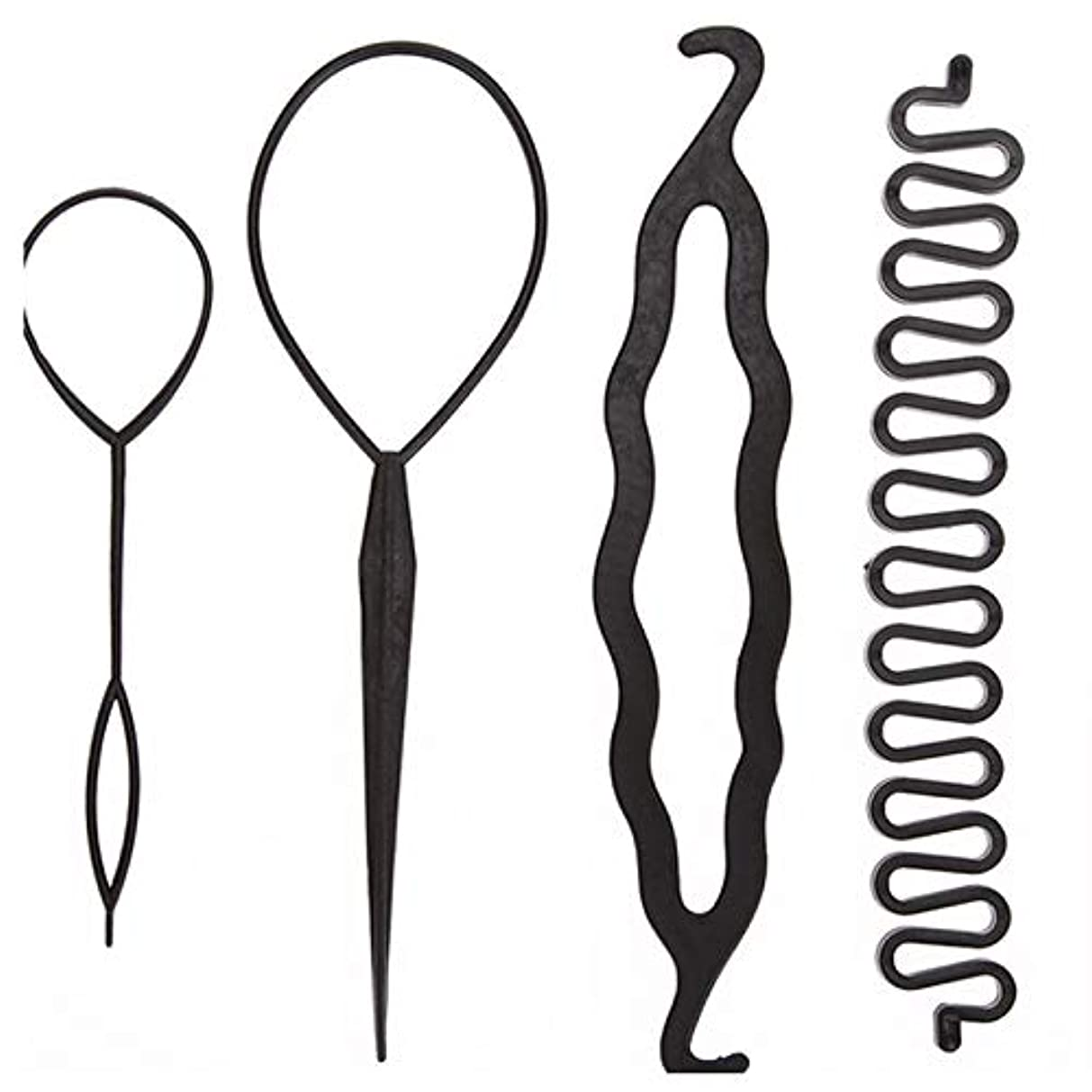 ではごきげんよう逃れるマングルSurenhap 髪編みブライダーツール 髪の編み工具 ラッキーウインク アレンジツイスターピン ショートDIY 編み込み 女性のための魔法の髪編み ツイスターピン 髪 ヘアアレンジ アクセサリー レディース ガールズ 4点セット