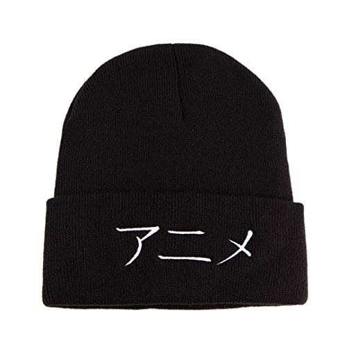 Anime in Japanese Beanie for Men Women - Embroidered Warm Winter Hat Cuff Knit Cap (Black)