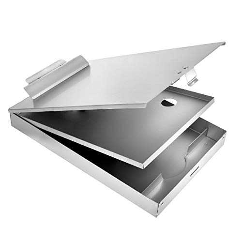 AdirOffice Aluminum Dual Storage Clipboard - Multi Compartment Desktop File Holder - Quick Access Paper References for School Office & Home Use