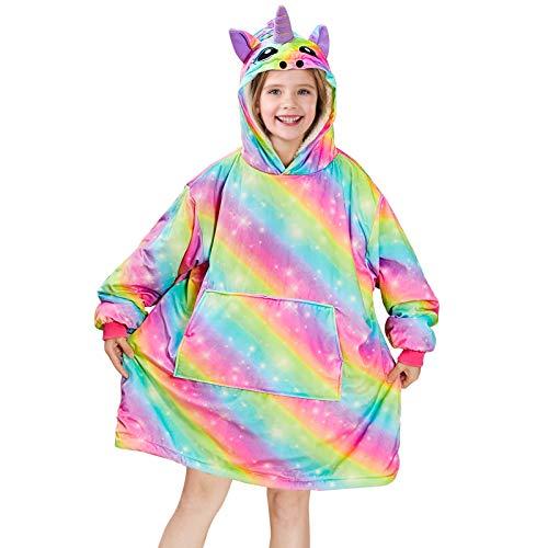 Beinou Einhorn Decke Hoodie Sweatshirt Kinder Kuscheldecke Hoody Kapuzenpullover Schlafanzüge Pullover Fleece Sherpa Plüschpyjamas, Einhorn Regenbogen, S(8)