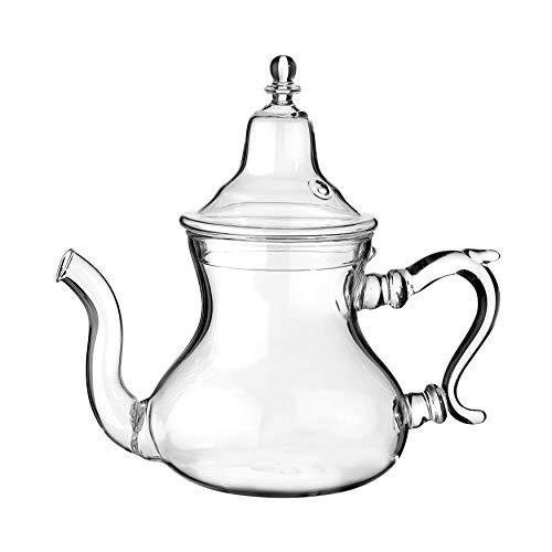 ESENCIA DE MOROCCO - Tetera de cristal marroquí con filtro integrado. Capacidad aproximada pequeña: 300 ml (unos 2 vasos de té)