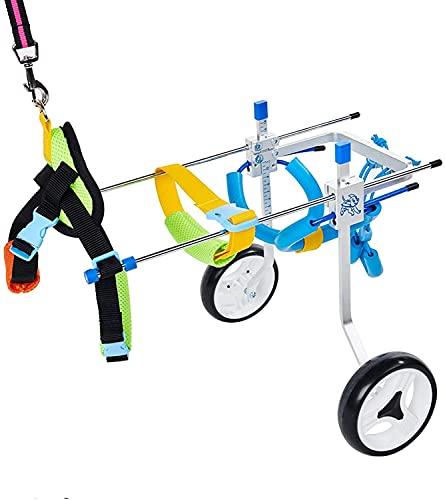 リハビリ犬用車椅子 柴犬、チワワ、トイプードル、シーフード、ダックスフントなど歩行障害 補助 歩行器 老犬介護 調節可能4輪犬用車いす XS