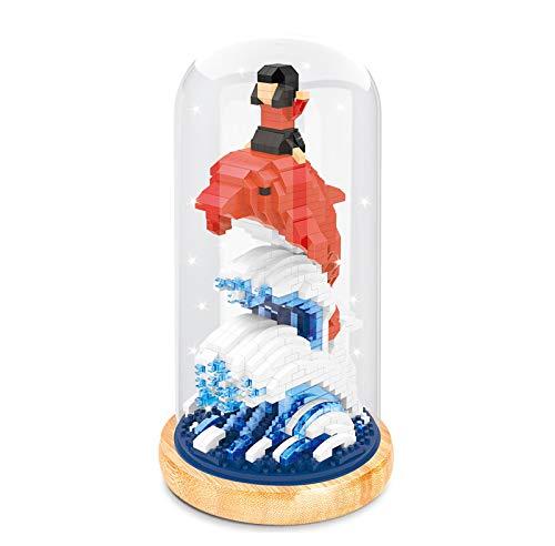 BAIDEFENG Bausteine Kreative Big Fish Baukasten (Acryl Box Mit Lichtmast) Micro-Diamond 3D Puzzle Micro Bricks Kind Baustein Spielzeug,E