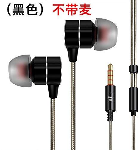 Écouteurs à isolation phonique stéréo de 3,5 mm, Premium, basses lourdes intra-auriculaires avec microphone noir Casque , sans (Mak)