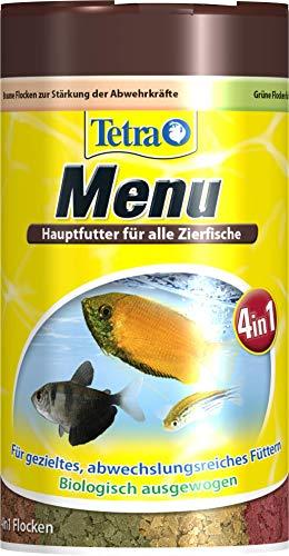 TetraMin Menu Hauptfuttermix (für alle Zierfische, 4 verschiedene Flocken in 4 getrennten Kammern, ideal für Fische sämtlicher Wasserzonen), 100 ml Dose