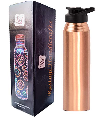 Rastogi Handicrafts Pure Copper Bottle 950 Ml Joint Less Leak Proof with Plastic Cap