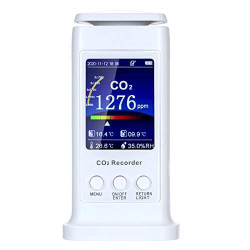 QuRRong Detector de Dióxido de Carbono Detector De Calidad De Aire LCD Detector USB Recargable CO2 Meter Temperatura Monitor De Humedad para Detección de Aire (Color : White, Size : One Size)