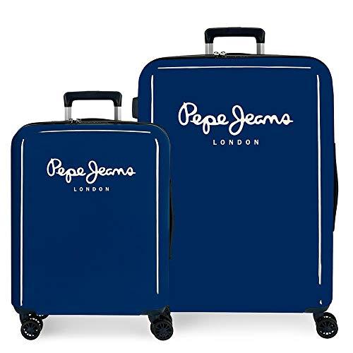 Pepe Jeans Albert Juego de Maletas Azul 55/70 cms Rígida ABS Cierre TSA Integrado 119,4L 7,1 kgs 4 Ruedas Dobles Equipaje de Mano