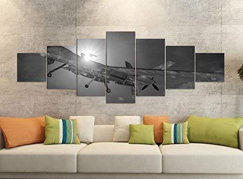 Foto's op canvas 7 delig 280x100cm zwart vliegtuig drones start militaire oorlogen linnen afbeelding delen delen kunstdruk wandafbeelding meerdelig 9YB1887