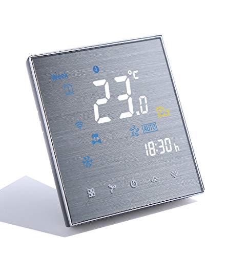 Qiumi Termostato Wifi, aire acondicionado inteligente controlador de temperatura, 2 tubos, funciona con Alexa Página principal de Google,Innovación Panel cepillado(Brillo ajustable)