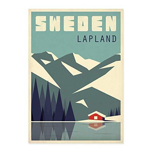 Travel Poster, Schweden, Lappland, Lapland, Reise, Skandinavien, Skandinavisches Dekor