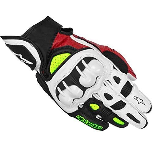 GPX Guantes de Cuero para Moto Anti-caída Antideslizante Guantes Llenos de Dedos para Montar al Aire Libre,Green,M