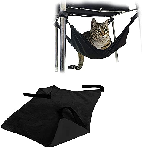 Pet Hammock Under Chair,Cat Cage Hammock,Comfortable Hanging Adjustable Hammock Bed for Cats/small Dogs/rabbits/other Small Animals (Black)